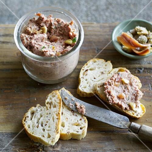 Homemade Italian liver sausage