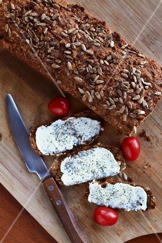 Sunflower bread with butter