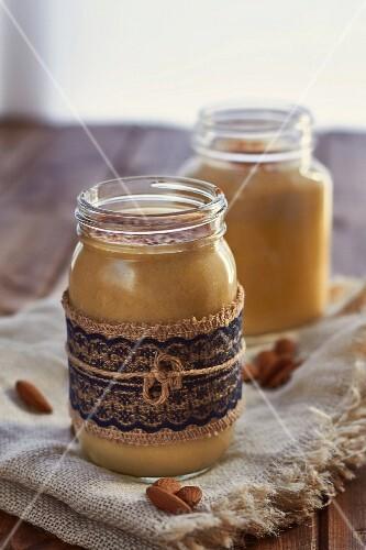 Vegan mango and banana smoothie with almond milk