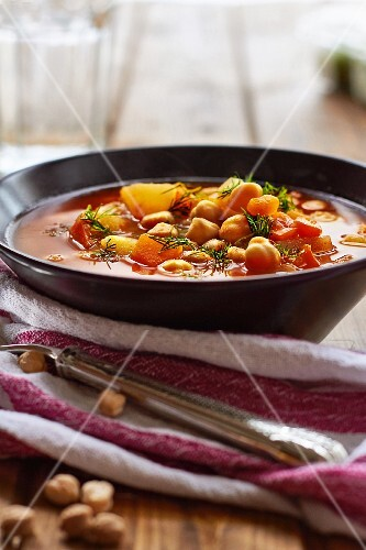 Vegan chickpea soup with peppers