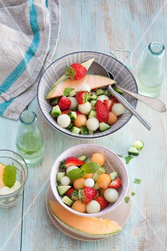 Colourful melon salad with mint syrup