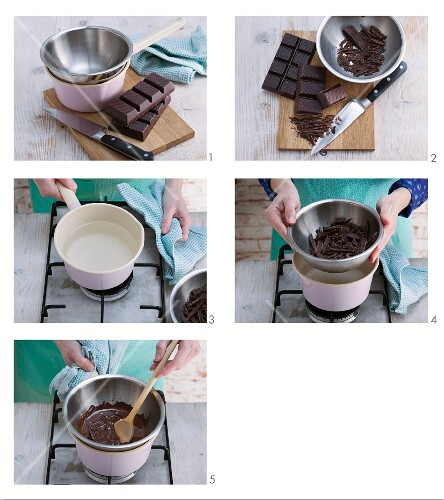 Melting couverture chocolate in bain-marie