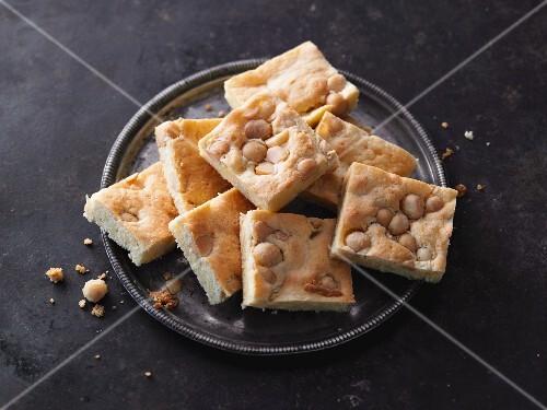 Macadamia nut blondies with white chocolate
