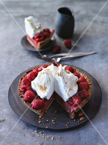 Raspberry tart topped with meringue