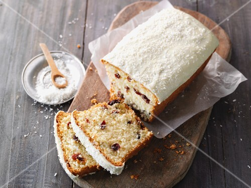 Coconut loaf cake with cranberries