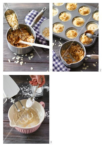 Caramelised almond muffins being made