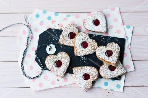 Heartshaped jam sandwich biscuits