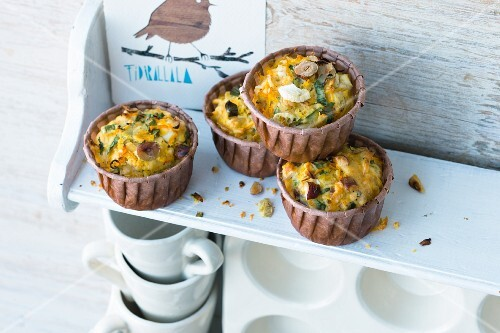 Pumpkin muffins with sheep's cheese