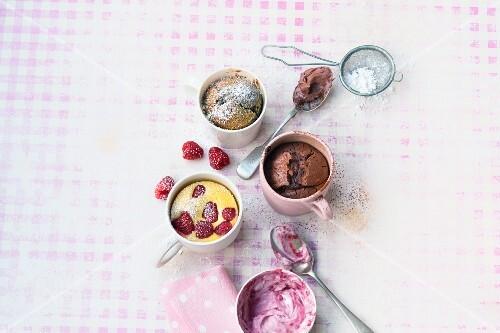Four sweet mug cakes
