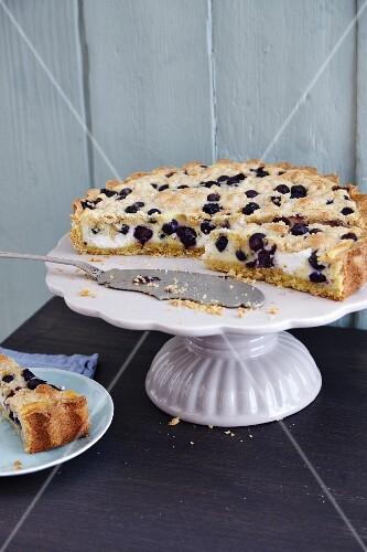 Gluten-free blueberry and ricotta tart with cinnamon