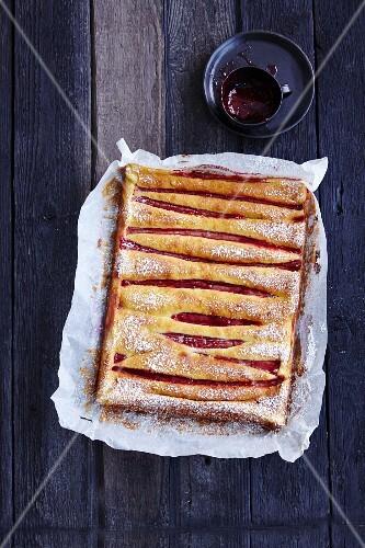 Gluten-free polenta and rhubarb cake