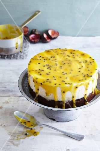 Gluten-free passion fruit ice cream cake made with chestnut flour