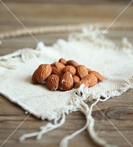 Almonds on a linen cloth