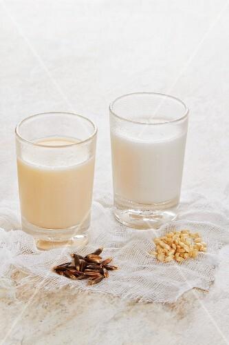 Rice milk and oat milk
