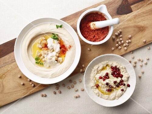 Babba ghanoush, harissa and hummus