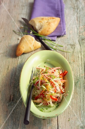 Fiery sausage and cabbage salad