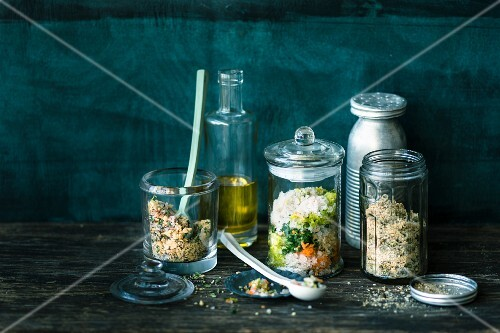 Homemade spice mixtures in jars