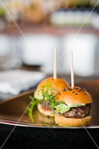Mini burgers on a tray