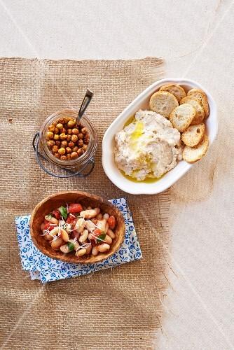 Bean salad, hummus and chickpeas