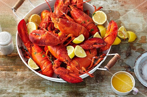 Cooked lobster with lemon and melted butter