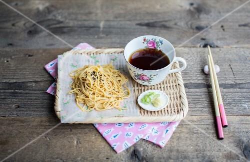 Cold soba noodles with black sesame seeds and a soya dip (Japan)