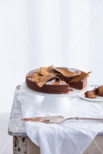 Chocolate mousse cake with cinnamon, sliced