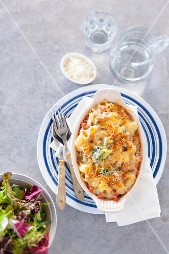 Macaroni bake with ham and broccoli