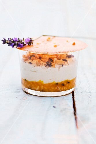 Goat's cheese mousse with lavender and melon tartare and a pine nut cracker
