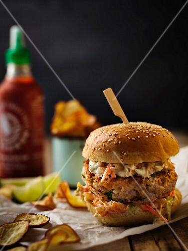A pork burger with coleslaw