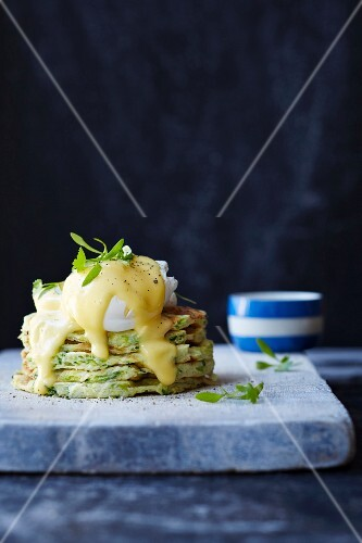 Courgette waffles with poached egg and Hollandaise sauce
