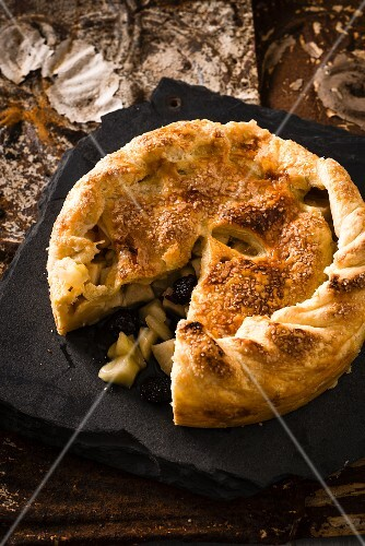 Apple and cherry pie, sliced