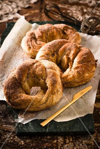 Cinnamon bagoissants (cross between a bagel and a crossiant)