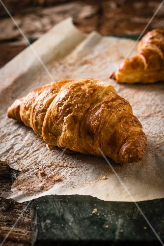 Croissants on baking paper