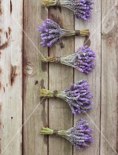 Several bunches of lavender on a wooden surface