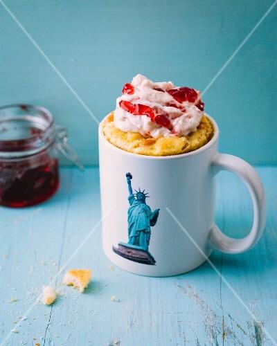 A New York cheesecake-style mug cake