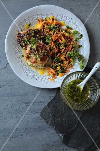 Oat and quark cakes with a carrot salad