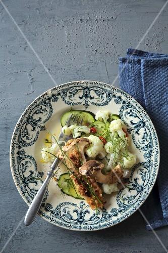 Crispy king trumpet mushrooms with cauliflower salad