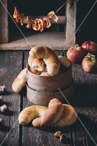 Homemade rolls on a rustic wooden table