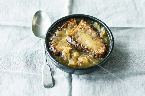 French onion soup with rosemary and star anise