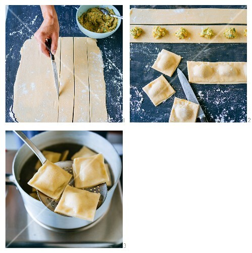 Gluten-free Swabian ravioli filled with vegetables and sausage meat being made