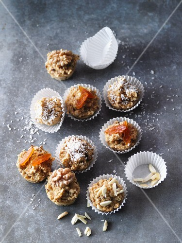 Fruity mini muesli muffins with flax seeds