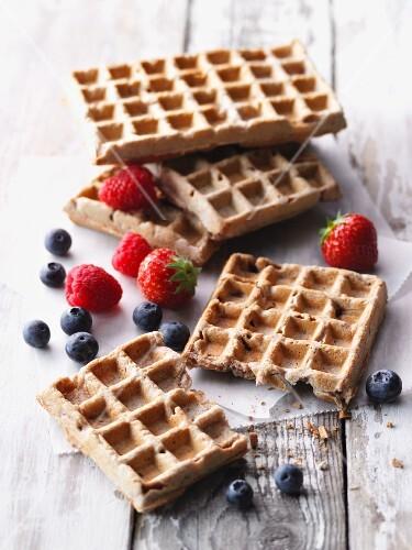 Vegetarian bread waffles for breakfast