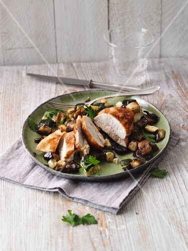 Marinated chicken breast with Mediterranean oven-roasted vegetables