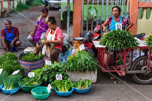 Vegetable sellers at a market in Nong Khai, Thailand