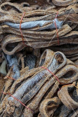 Dried buffalo skin at a market in Nong Khai, Thailand
