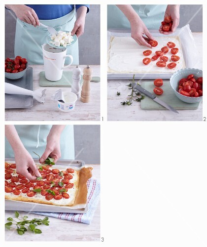 Quick pizza with sheep's cream cheese and cherry tomatoes being made