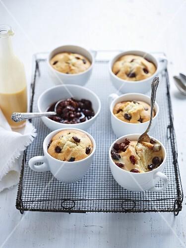Eggnog cakes with rum-soaked raisins