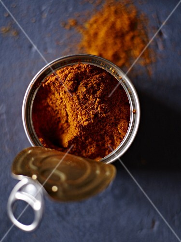 A spice mixture in a tin can