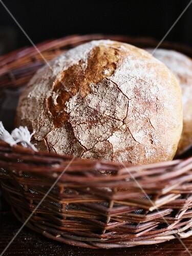 Country bread in a wicker basket