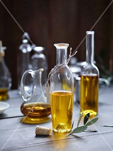 Assorted Bottles of Olive Oil